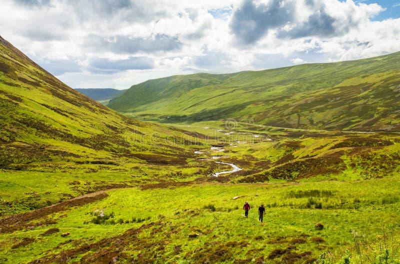 Viandanti sugli altopiani Scozia delle tracce fotografia stock libera da diritti
