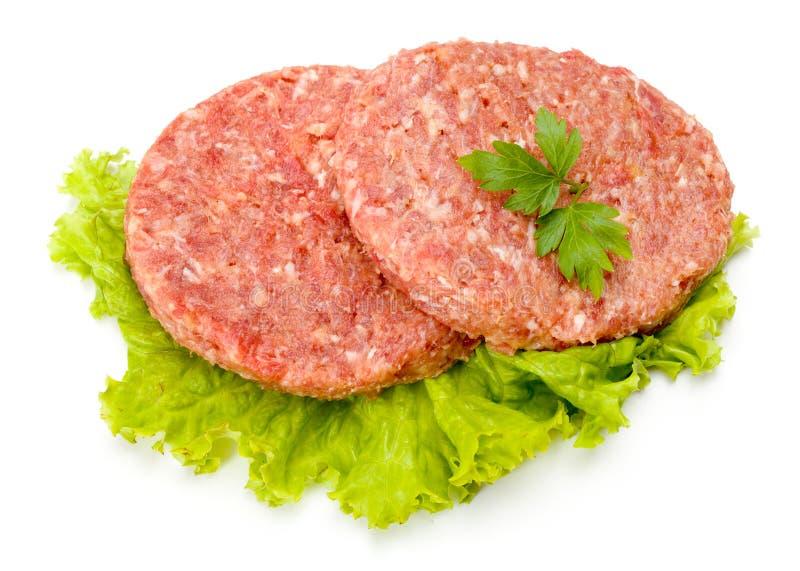 Viande crue d'hamburger de boeuf et de porc photographie stock