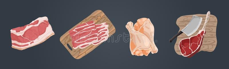 Viande crue crue, filet de porc, tranches de lard, jambes de poulet, hough de jambon, quartier de porc de boeuf, ensemble délicie illustration stock