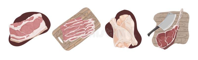 Viande crue crue, filet de porc, tranches de lard, jambes de poulet, hough de jambon, quartier de porc de boeuf, ensemble délicie illustration de vecteur