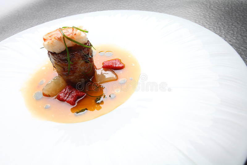 Viande de crevette de Plats gastronomiques photos libres de droits
