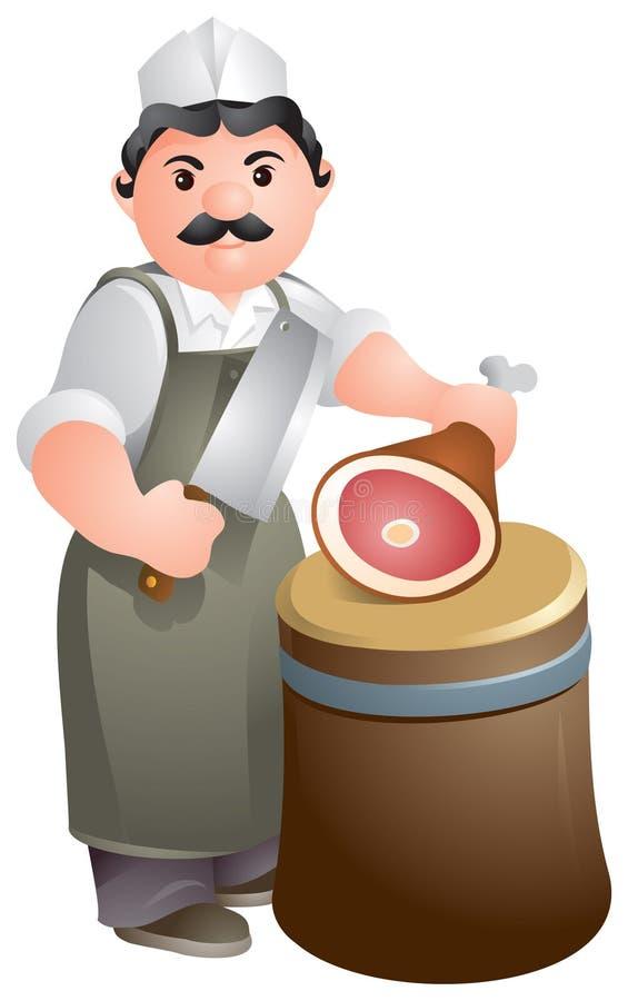 Viande de découpage de boucher ou de chef illustration de vecteur