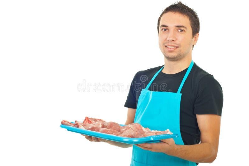 Viande de fixation de boucher photos stock