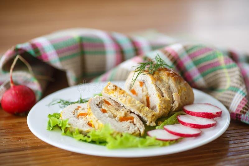 Viande de petit pain de poulet photographie stock libre de droits