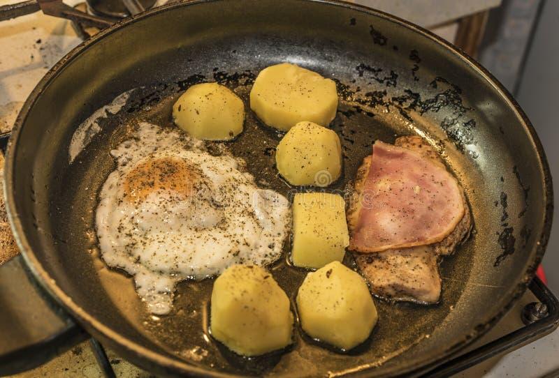 Viande de poulet avec les pommes de terre et l'oeuf image libre de droits