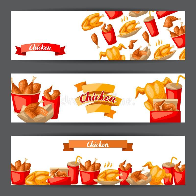 Viande de poulet frit d'aliments de préparation rapide illustration stock