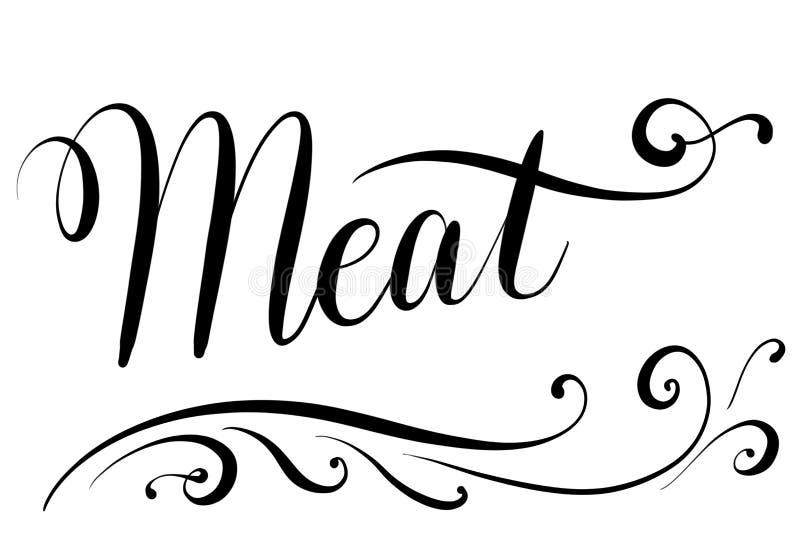 Viande des textes de Handlettered pour la carte de menu dans les restaurants illustration stock