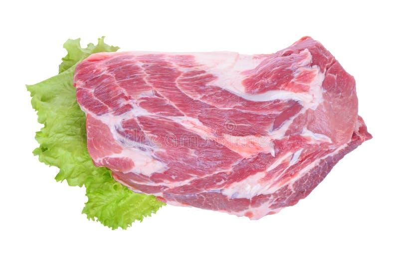 Viande et salade de porc crue d'isolement sur le blanc images libres de droits
