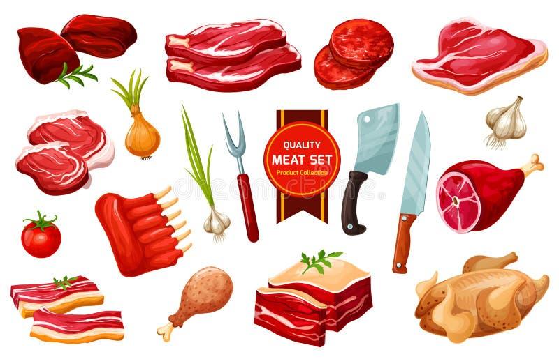 Viande et volaille avec des couverts, légumes illustration de vecteur