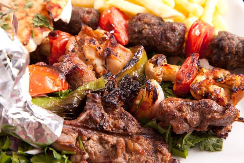 Viande grillée de mélange avec le légume images stock