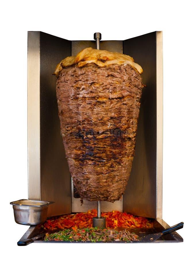 Viande grillée du Moyen-Orient de chiche-kebab d'agneau d'isolement image libre de droits