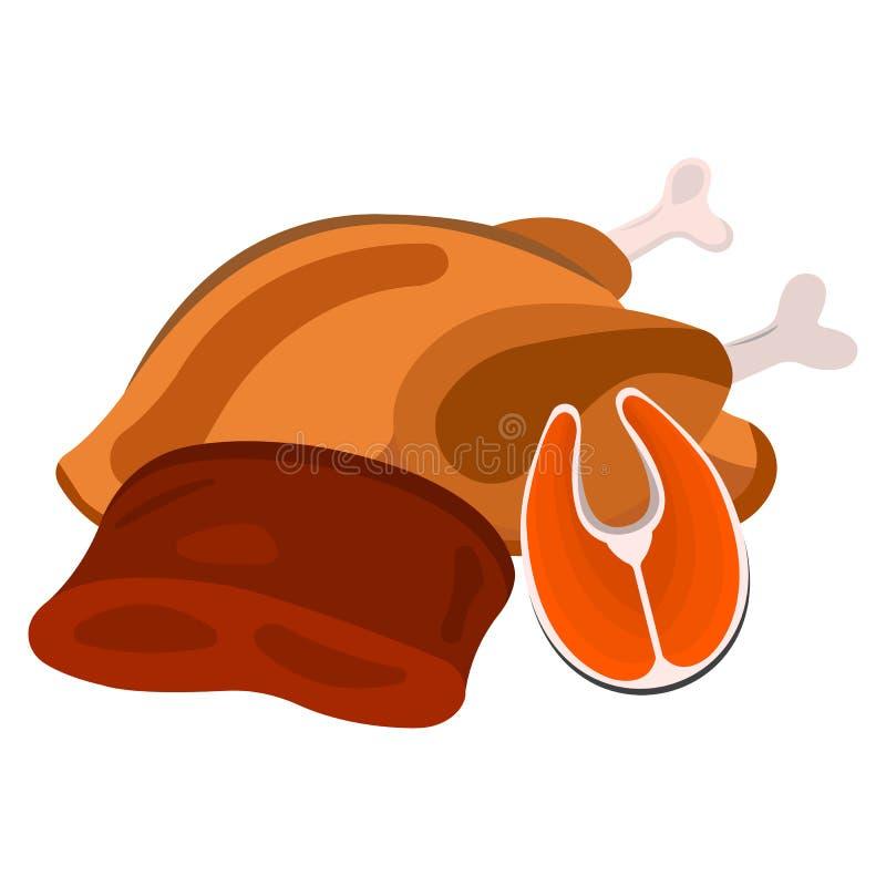 Viande, icône de poissons Label de nourriture, logo pour le Web et bannières Illustration de vecteur de dessin animé illustration stock