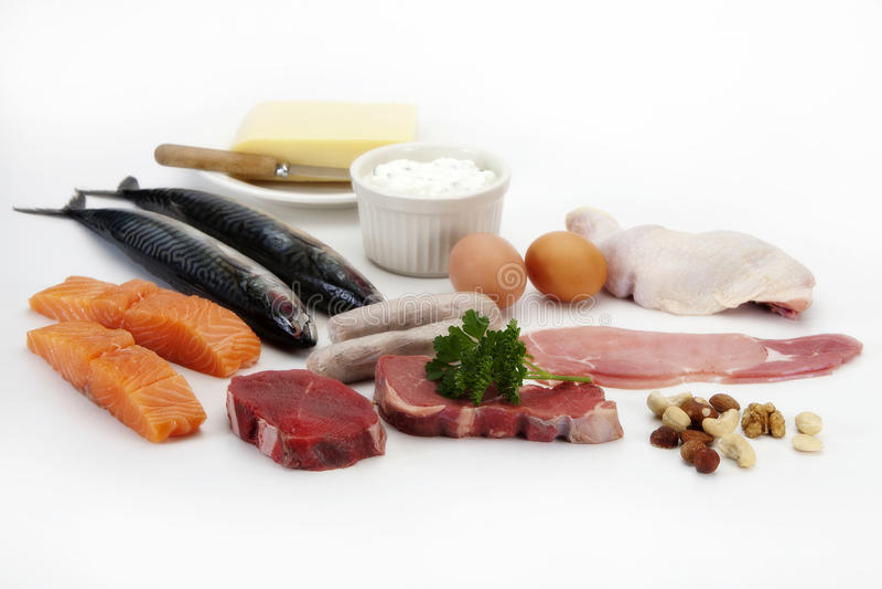 Viande, poissons, oeufs et poulet photo libre de droits