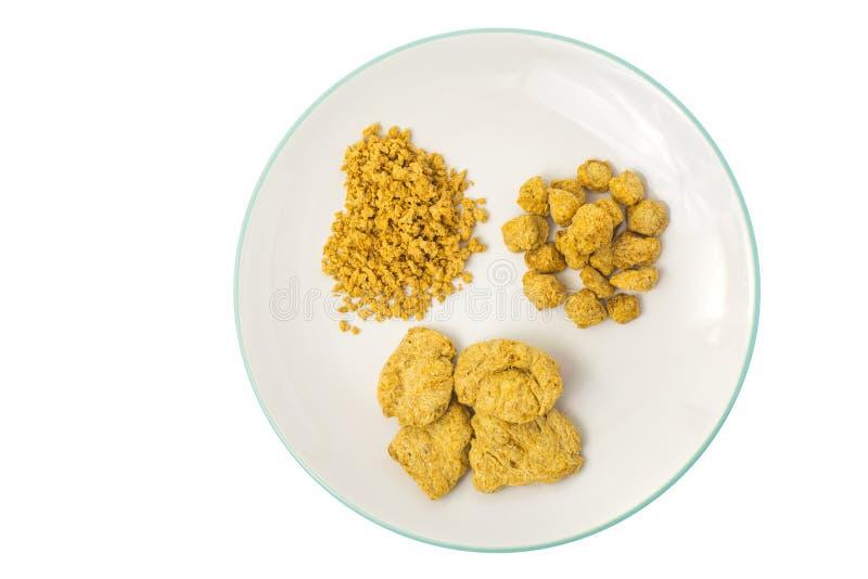 Viande sèche de produits de soja de nourriture végétarienne de plat image libre de droits