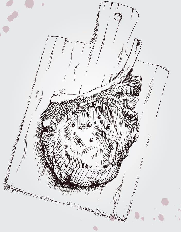 Viande sur un conseil en bois illustration de vecteur