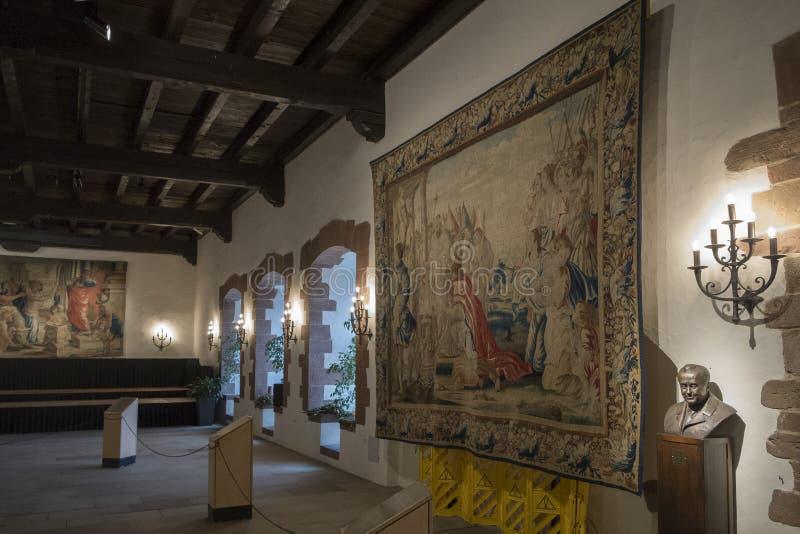 Big room in Vianden medieval castle, Switzerland stock photo