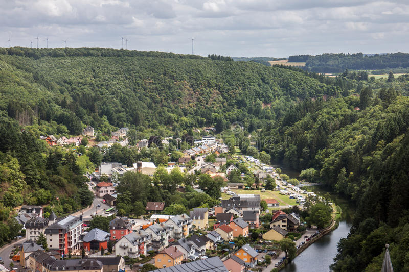 Vianden and Our river. Old Vianden town in Luxembourg cityscape with Our river royalty free stock image