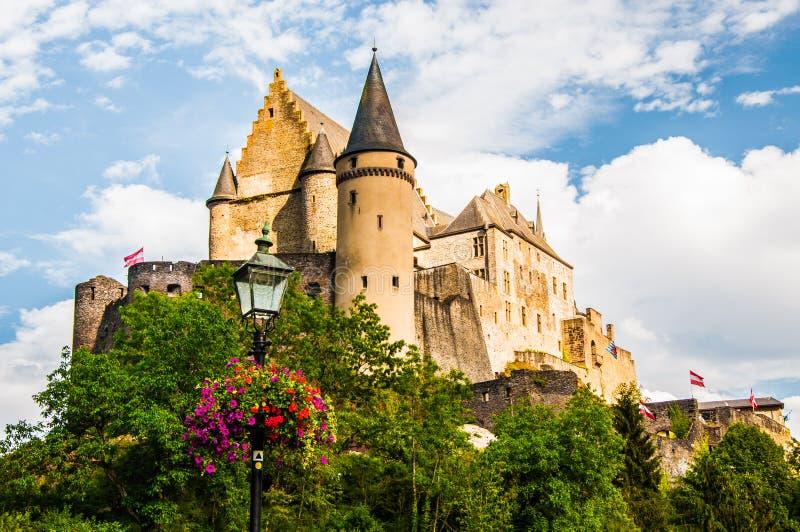 Vianden slott - Luxembourg arkivfoto