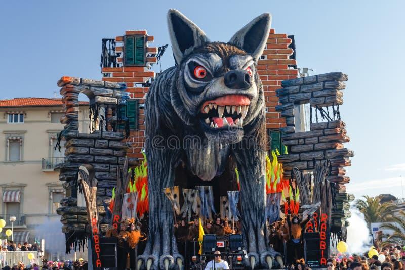 VIAREGGIO, ITALY - FEBRUARY 19: parade of allegorical chariot royalty free stock image