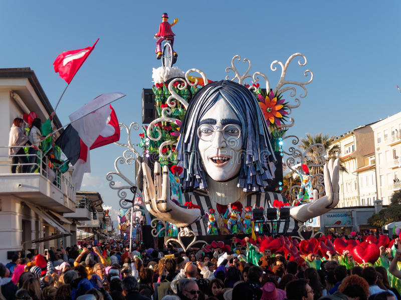 VIAREGGIO, ITALY - FEBRUARY 23: allegorical float of John Lenn stock images