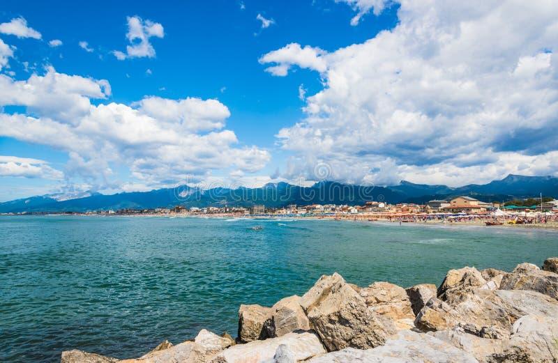 Viareggio panorama, Tuscany, Italien arkivbilder