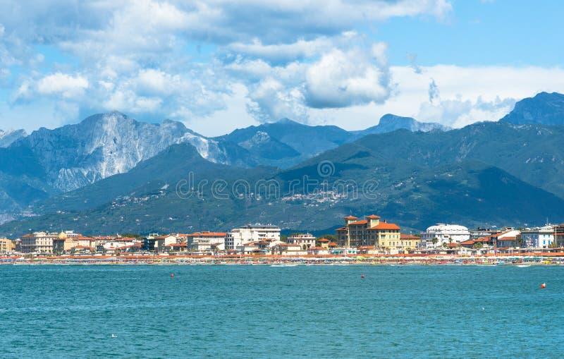 Viareggio panorama, Tuscany, Italien royaltyfria bilder