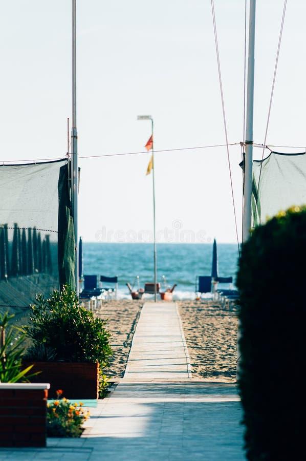 Viareggio strand, Italien, Tuscany arkivfoton
