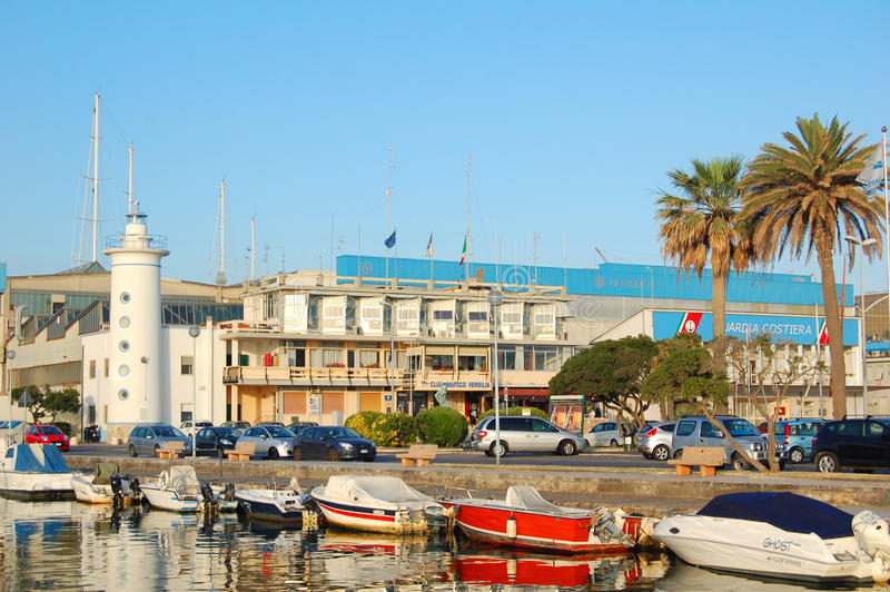 Viareggio view of harbour lighthouse and boats stock images