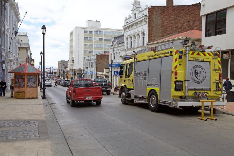 Viatura de incêndio em Punta Arenas, o Chile imagens de stock