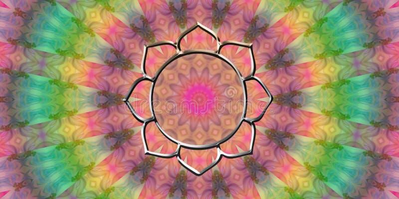 Vibes för goda för blommalotusblommamandala royaltyfri illustrationer