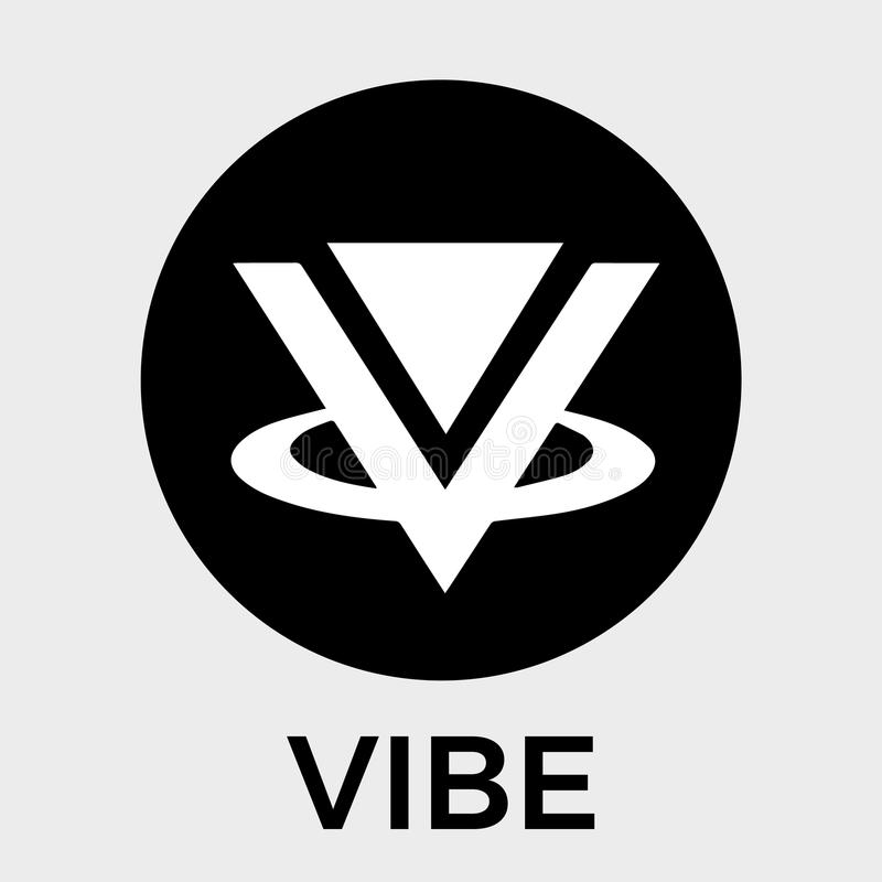Vibeschwarzweiss-Vektorlogo Eine virtuelle Sozialwirklichkeit, photorealistic Hologramme und eine Schlüsselwährung vektor abbildung