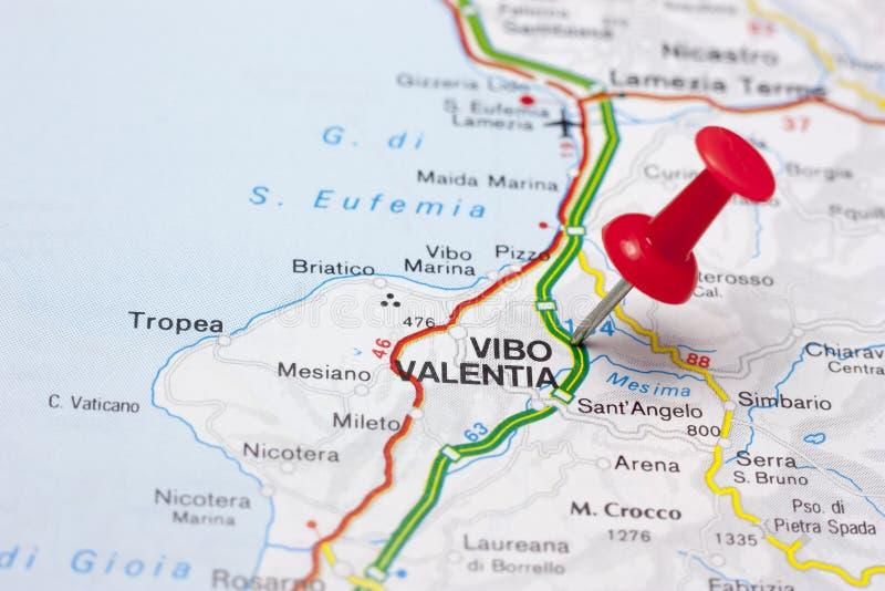 Vibo Valentia Ιταλία σε έναν χάρτη στοκ φωτογραφία με δικαίωμα ελεύθερης χρήσης