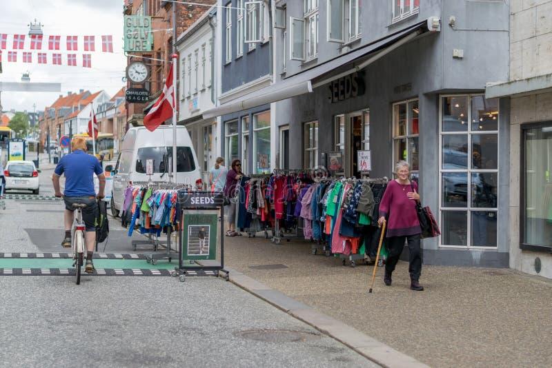 VIBORG, DENMARK - AUGUST 26, 2016: An unidentified woman waks on Viborg royalty free stock image