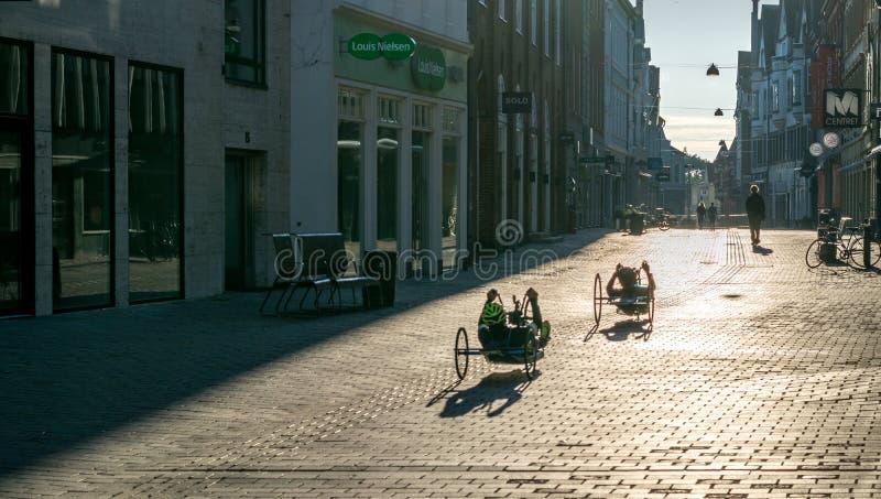 VIBORG, DENMARK - SEPTEMBER 18, 2016: Men on recumbent bicycles. In Viborg, capital of both Viborg municipality and Region Midtjylland royalty free stock photo