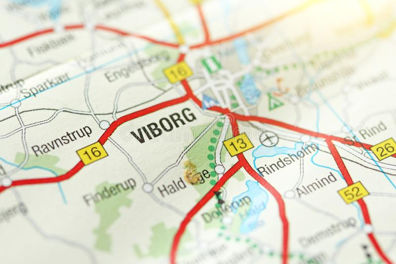 Viborg. Kongeriget Danmark. A paper map and roads on the map royalty free stock photos
