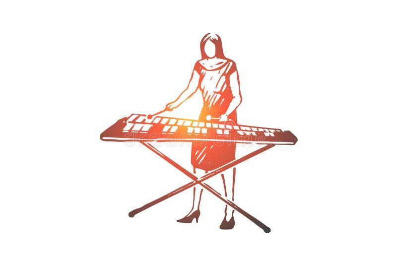Vibráfono, música, mujer, instrumento, concepto del juego Vector aislado dibujado mano ilustración del vector