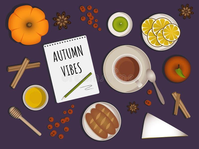 Vibrações do outono - composição superior da opinião da tabela ilustração stock
