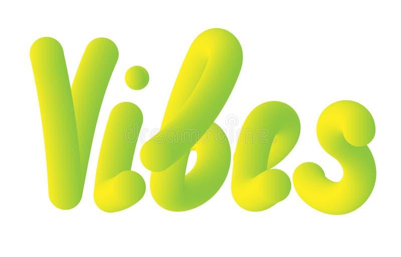Vibrações verdes da inscrição 3d Arte moderna abstrata Estilo líquido Bandeira do vetor Elemento do gráfico do conceito Inscrição ilustração stock