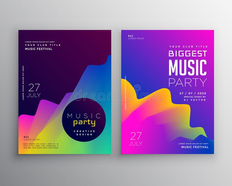 Vibrant abstract music party event flyer poster template design. Vector royalty free illustration