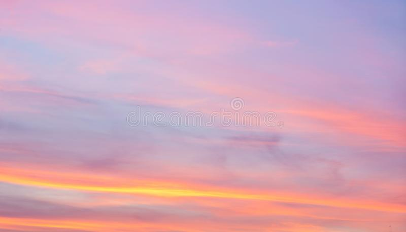 Vibrant abstract pink and blue sky at sunset royalty free stock photos