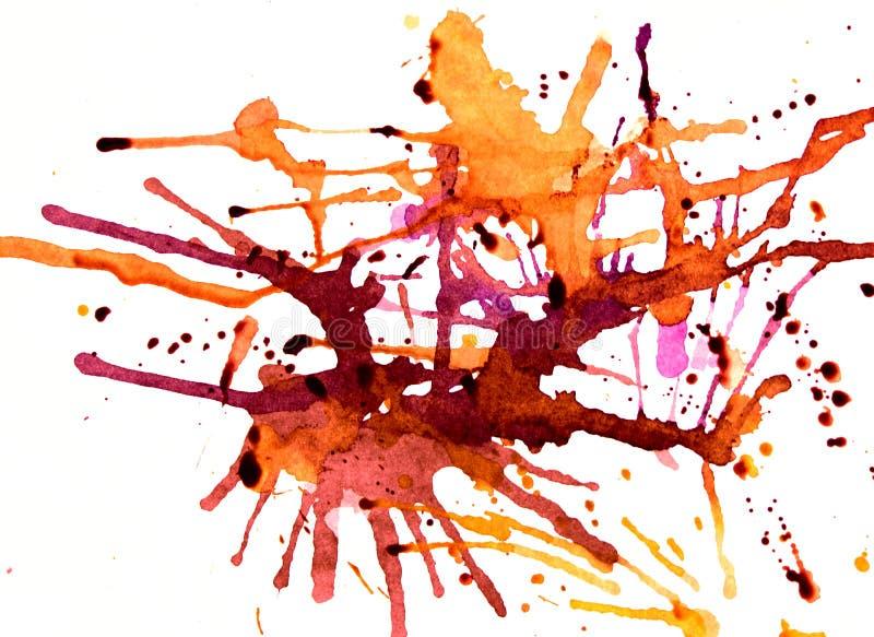 Vibrant amber splatters. Splashes of warm hues on white stock photo