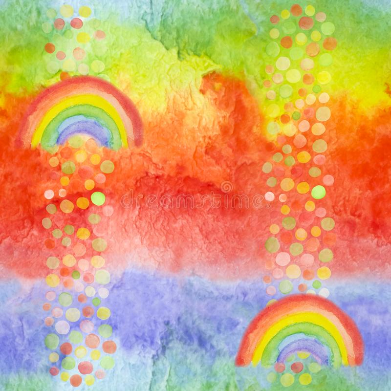 Free Vibrant Background For Bed Cloth, Paper Napkin, Party Design. Bright Modern Seamless Pattern With Hand Drawn Rainbows And Rainy Royalty Free Stock Image - 132603656