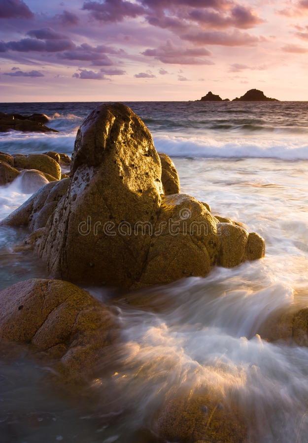 Vibrant beach sunset stock photo. Image of coastline ...