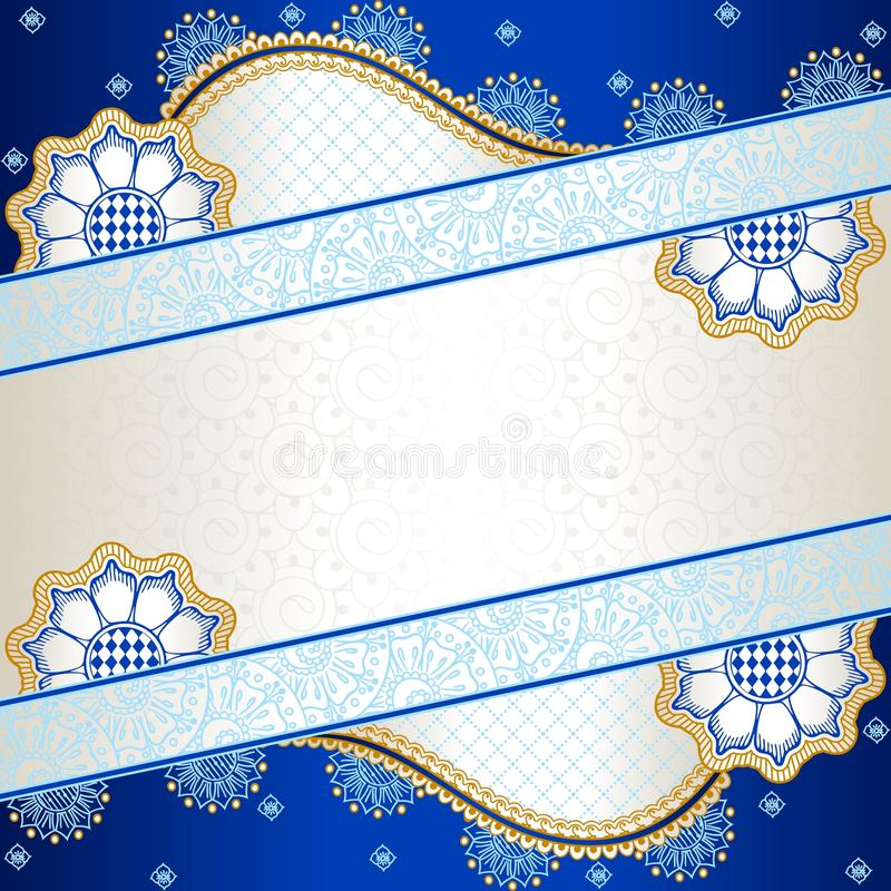 Vibrant blue banner inspired by Indian mehndi royalty free illustration