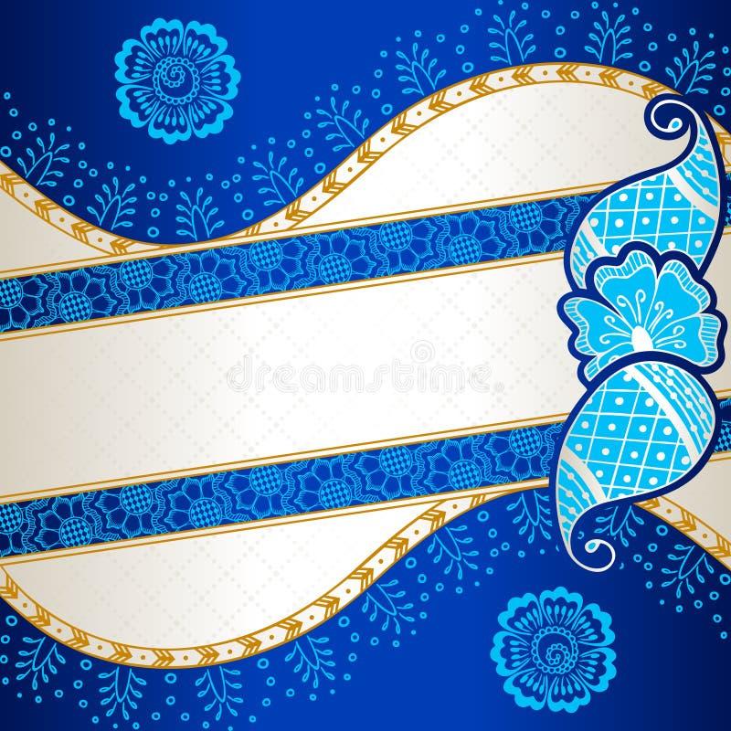 Vibrant blue banner inspired by Indian mehndi stock illustration