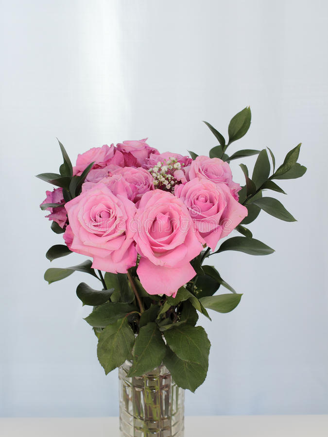 Download Vibrant Bouquet Of Beautiful Pink Roses Stock Photo - Image: 93817564