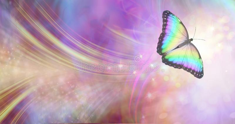 Transformation and spiritual release concept. Vibrant butterfly against a white energy formation flowing outwards, sparkles and colours moving in all directions royalty free stock photography