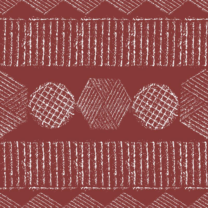 Vibrant chalk tribal geometric design with hexagons, circles, diamonds. Seamless vector pattern on burnt earth vector illustration