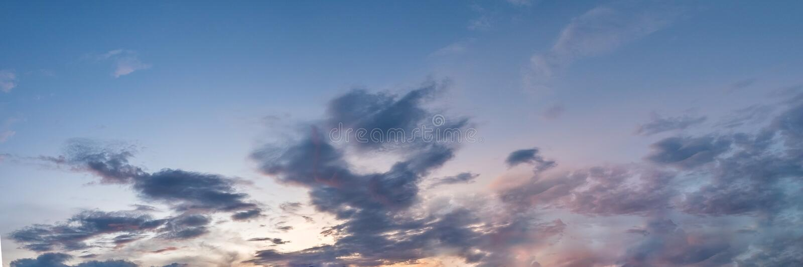 Vibrant color panoramic sky with cloud on morning. Beautiful cirrus cloud. Panorama high resolution photograph royalty free stock image