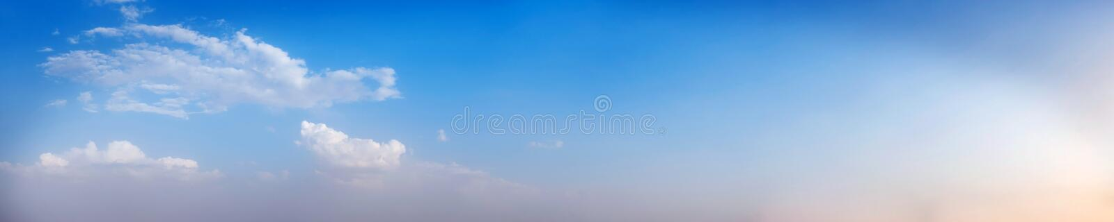 Vibrant color panoramic sky with cloud on a sunny day. Beautiful cirrus cloud. Panorama high resolution photograph stock photo